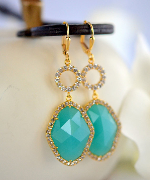 Turquoise Bridal Earrings With Cubic Zirconia Stones In Gold Dangle Statement Rhinestone Jewelry Gift
