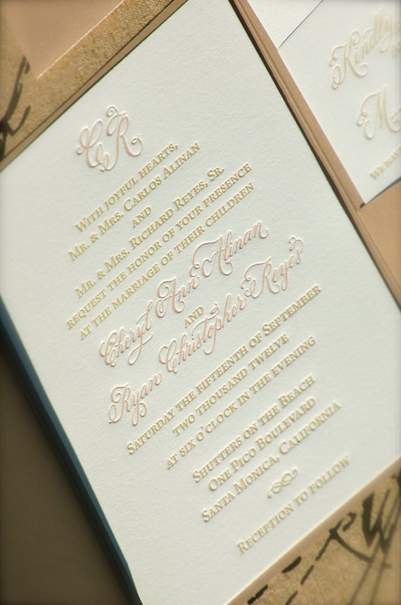 Letterpress Wedding Invitations With Hand Calligraphy