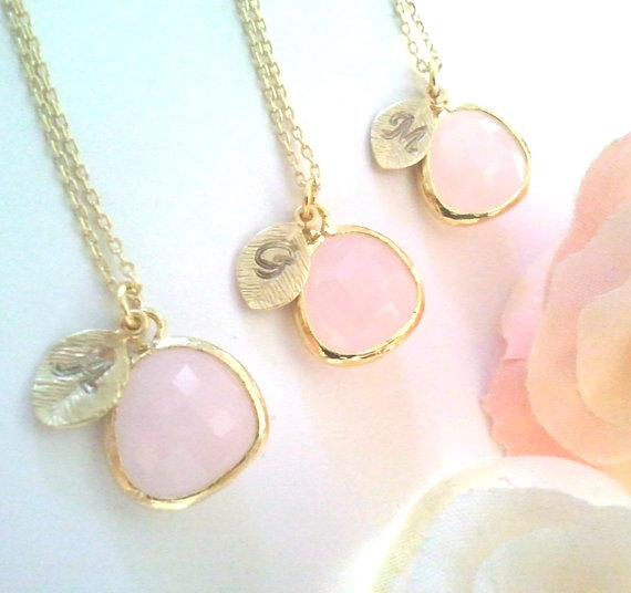 زفاف - 15% SALE Blush Pink Necklace, Bridemade Gift, Initial , Personalized Jewelry,Birthstone, Initial,Statement, Bridal jewelry, Christmas GIFT