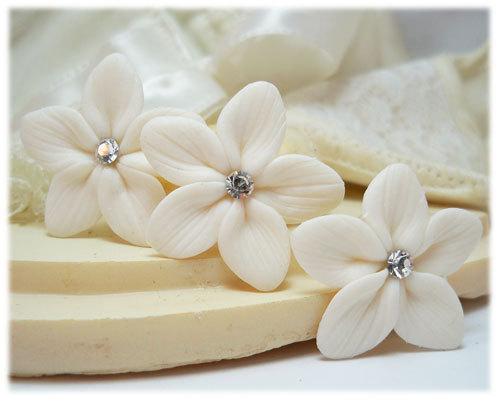 White Stephanotis Crystal Hair Pins Set