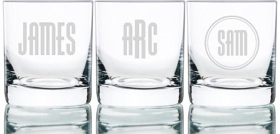 Wedding - Personalized Double Old Fashioned Bar Rocks Groomsmen Bourbon Whiskey Rum Glasses (per piece), 11 oz.