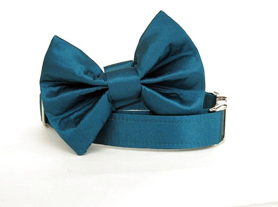 زفاف - Satin Wedding Bow Tie Dog Collar - Teal