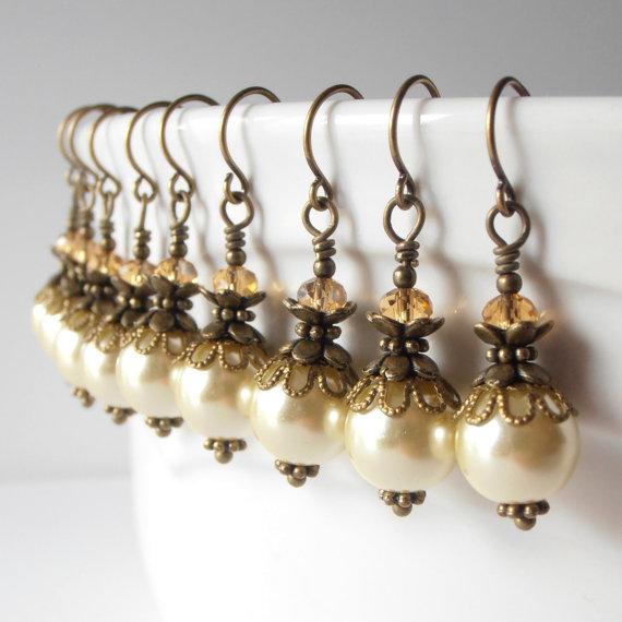Light Yellow Pearl Dangle Earrings Pale Yellow Bridesmaid Jewelry