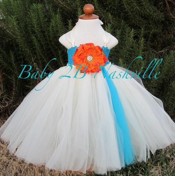 Свадьба - Beach Flower Girl Dress  Wedding Flower Girl Dress in Turquoise and Ivory with Double Straps  Baby - size 10 Girls