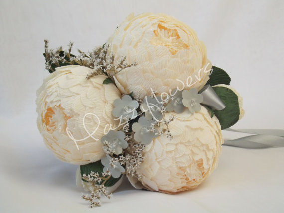 Свадьба - Bridal bouquet,paper flower,bridesmaids bouquet,wedding bouquet,paper flower bouquet,paper flower peony,peonies cream,bridal flower,bouquet