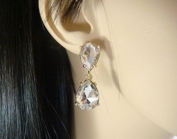 Wedding - Classic Rhinestone Teardrop Earrings in GOLD / bridal rhinestone earring pear / wedding earrings chandlier dangle post earrings