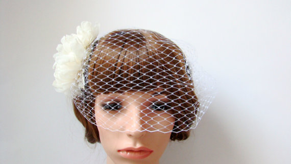Nozze - Chiffon Flower Birdcage Veil - Wedding Veil Bridal Veil Blusher Veil Bridal Headpiece with Flower Hair Comb