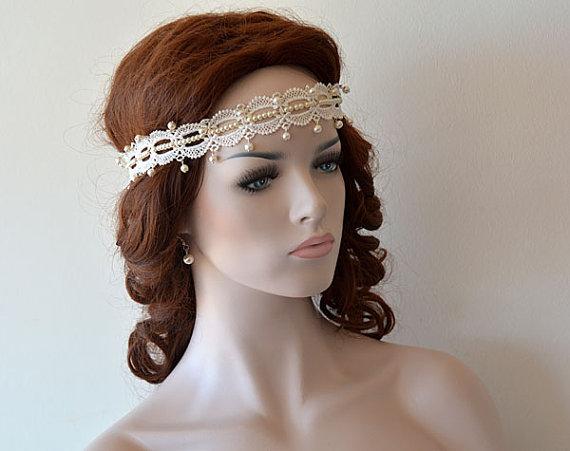 Hochzeit - Wedding Pearl Headband, Bridal Headband, Lace İvory Pearl Headband, Bridal Hair Accessory, Vintage Style, wedding Hair accessory