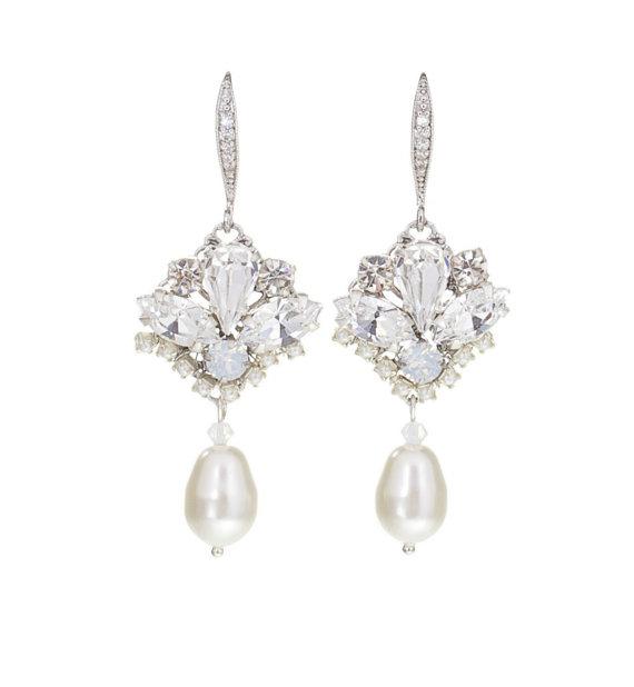 Wedding Earrings Crystal Earrings Pearl Bridal Earrings Opal