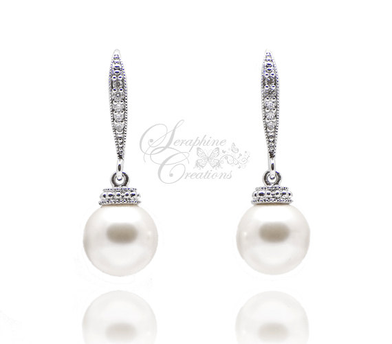 Pearl Wedding Earrings Wedding Jewelry Bridal Earrings Swarovski