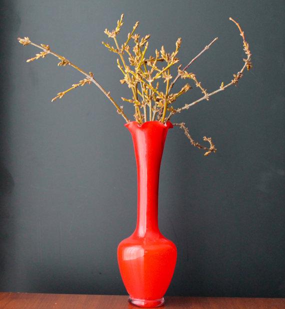 Mid Century Modern Vase Orange Vase Vintage Glass 60s 70s Retro Vase