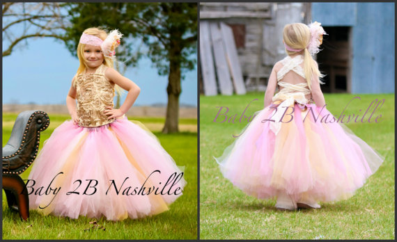 Boda - Wedding Flower Girl Dress   Pink and Gold  Dress, Satin Rosette Wedding Flower Girl Dress  All Sizes Girls