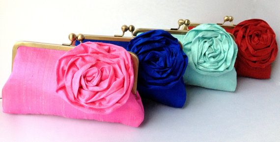 Wedding - Blooming Rose Kisslock - Bridal Clutch - wedding purse - Bridesmaid Clutch (Choose Your Color)