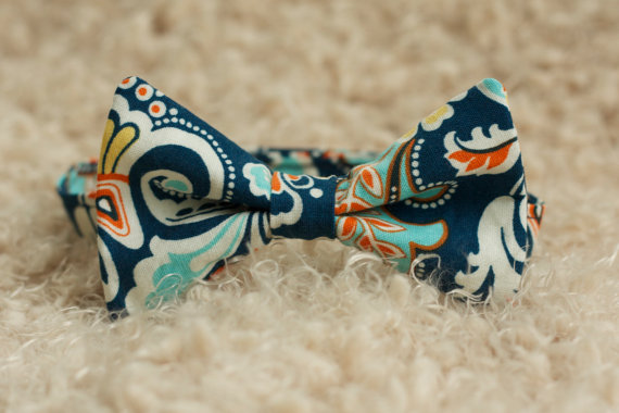 Свадьба - Men's and Boy's Navy Blue Colorful Damask Bow Tie, Spring Easter Photography Prop Bow Tie Newborn Toddler Child Adult, Wedding Groomsmen