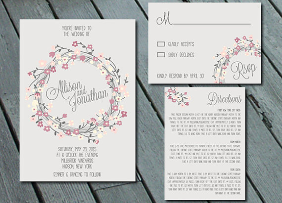 Digital Wedding Invitation Ideas: Rustic Floral Wreath WEDDING Invitation Suite With RSVP
