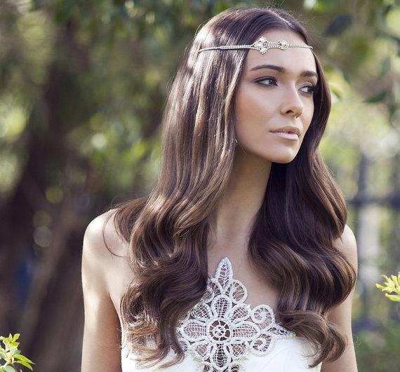 Mariage - Boho Bridal Headband, Bridal Hairband, Bohemian Bridal Headpiece, Boho Head Piece, rhinestone forehead headband. Bridal headpiece, wedding