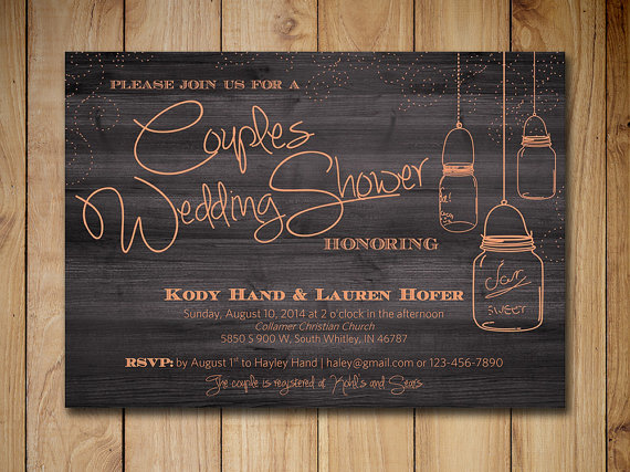 Hochzeit - Couples Shower Invitation Mason Jar Wedding Shower Invitation Template Peach Rustic Wedding