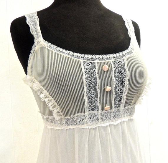 زفاف - vintage wedding negligee - 1960s white lacy long lingerie gown