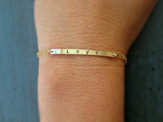 Свадьба - Personalized Gold Bar Bracelet Name Plate Bracelet Skinny Bar Name Bracelet Personalized Gift Bridesmaid Jewelry Bridal Jewelry