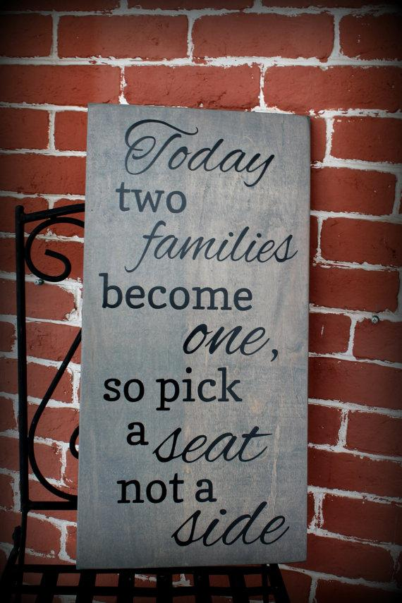 12 x 24 wooden wedding sign today two families become one so