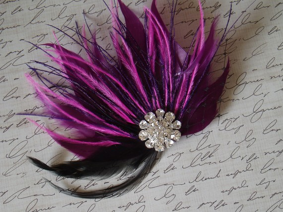 Свадьба - Purple Feather Hair Fascinator Bridal Veil Clip Wedding Hairpiece Fascinator