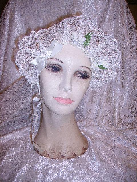 Wedding - Vintage 1930's French Net Lace Wedding Veil