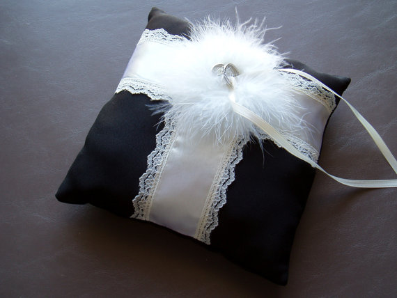 Wedding - Ring Bearer Pillow BLACK and IVORY Feathered Wedding Ring Pillow bridal accessory decoration
