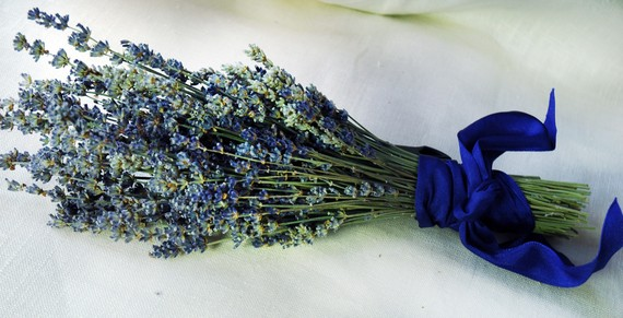 Mariage - Fancy  English Lavender Bouquet with Hand Tied Ribbon in a Love Knot