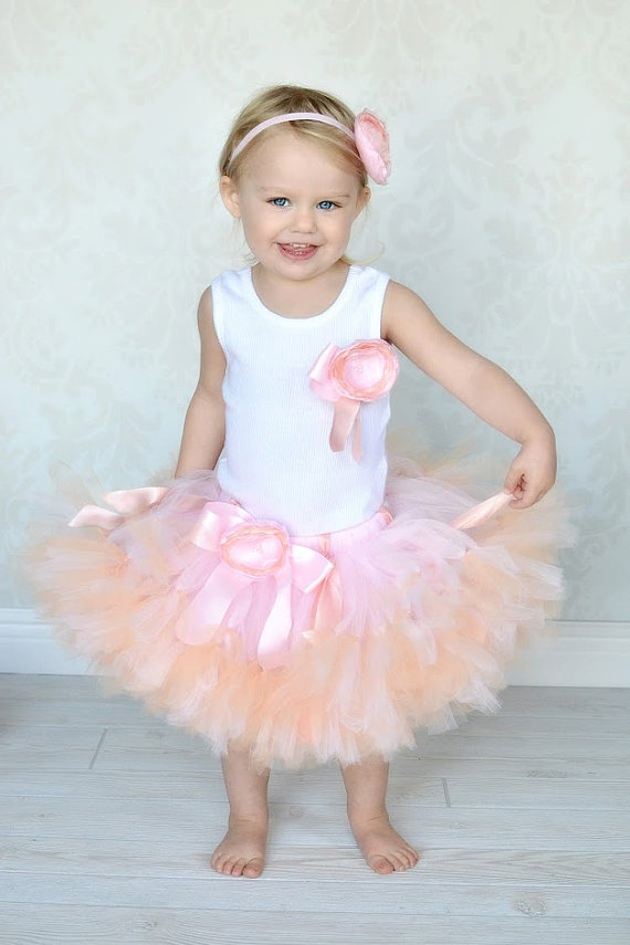 Hochzeit - Peach Pink Blossom Baby Tutu Dress for Baby Girls and Blush Flower Girl Dresses