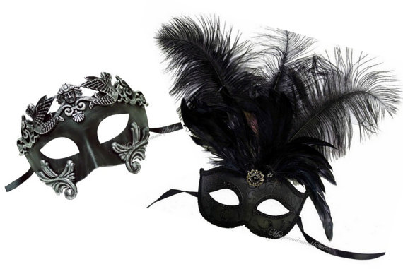 Hochzeit - Couple Black Masquerade Mask for Men and Women - His and Hers Masks Collection