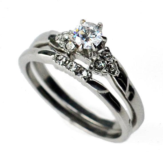 Mariage - cz ring, cz wedding ring, cz engagement ring, wedding ring set, ring set, cz wedding set, cubic zirconia size 5 6 7 8 9 10 - MC16941T
