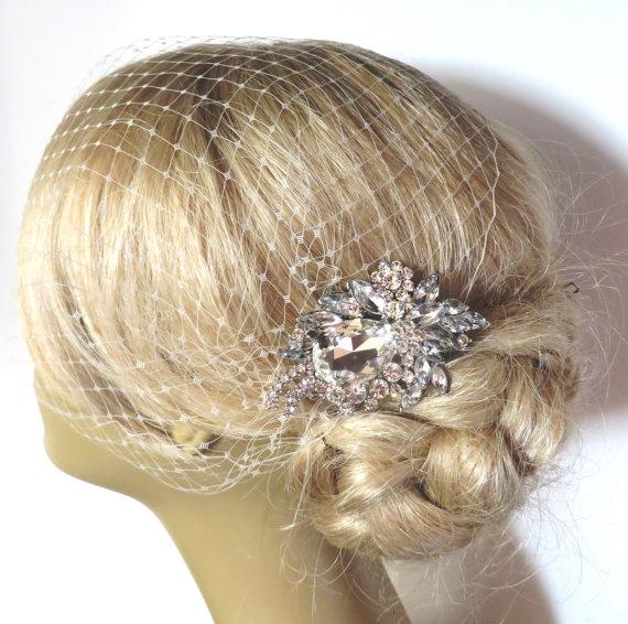 Свадьба - Bridal Veil and Bridal Comb, Bandeau Birdcage Veil, Blusher Bird Cage Veil , Rhinestone Fascinator Comb , QUICK SHIPPER