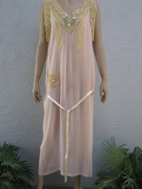Vintage 1920 S Apricot Silk Chiffon Nightgown With Ribbon Work Trim And French Lace Wedding