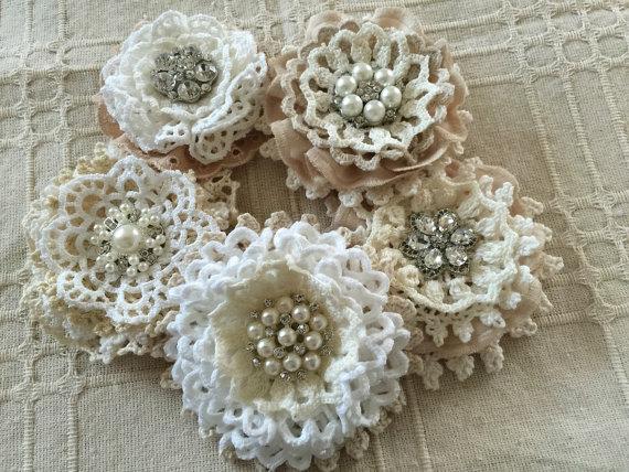 5 shabby chic vintage lace handmade flowers 2234295 weddbook. Black Bedroom Furniture Sets. Home Design Ideas