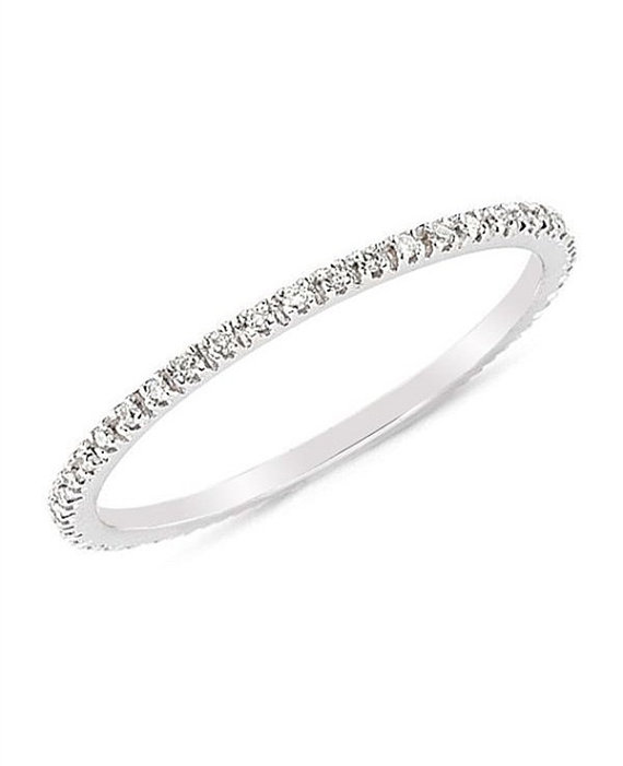 زفاف - Pave Diamonds CZ stone Ring / 14K Gold Fill Engagement Wedding Full Eternity Matching Band Ring /  Mother's Day Gifts / Christmas Gift