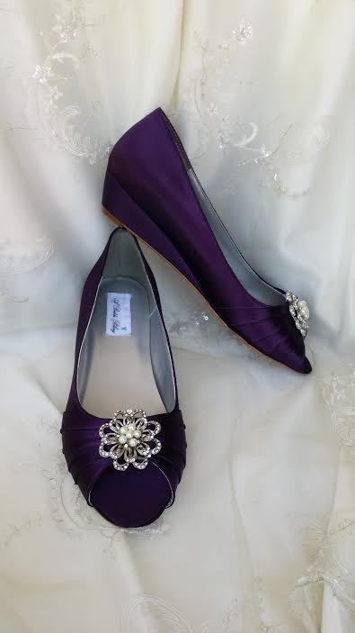 wedding shoes purple eggplant wedge shoes bridal wedges