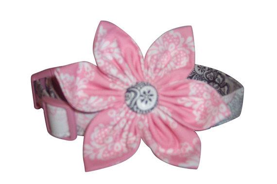 Свадьба - Wedding Day Fabric Flower Blossom Dog Cat Puppy Pet Collar xs sm med lg custom made