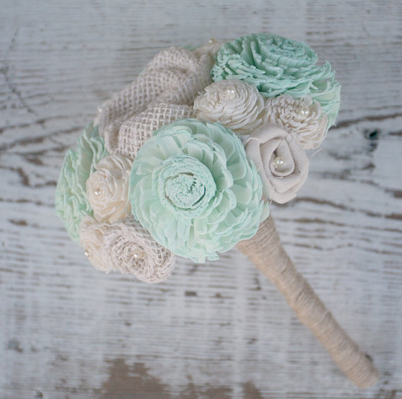 Mariage - Small Hand Dyed Pastel Mint Green Sola Wood Wedding Bouquet - Mixed Ivory Wood Flowers, Handmade Fabric Rosettes, Burlap, Cream, Mint Green