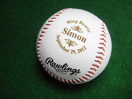 Свадьба - Personalized Engraved Baseball Rawlings Ring Bearer Groomsman Best Man Usher Wedding Party Gift Keepsake Logo