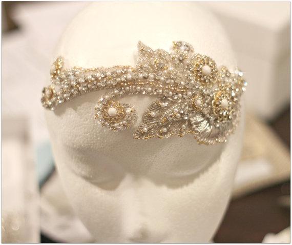 Düğün - Swarovski Crystal Gold Beaded Bridal Headpiece, Gold and Silver Bridal Headpiece, Bridal Fascinator, Couture Wedding Hair Accessory