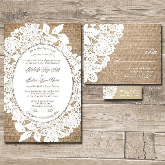 Mariage - Burlap Wedding Invitations, Rustic Burlap and Lace Budget Wedding Invitation - Sample