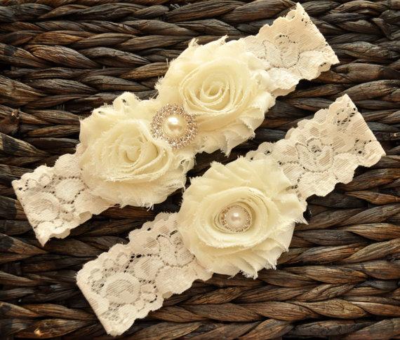 Mariage - Wedding Garter, Bridal Garter Set, Ivory Wedding Garter, Ivory Bridal Garter, Ivory Lace Garter, Wedding Garter Belt, Ivory Garter