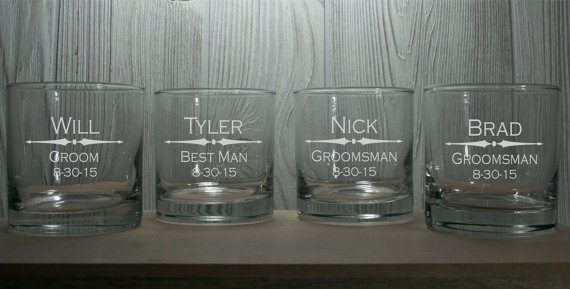 Свадьба - Groomsmen Gifts - Personalized 10.25 oz Rocks Glasses - Perfect for Birthdays, Bachelor Parties, Groomsmen Whiskey Glasses,  Man Cave