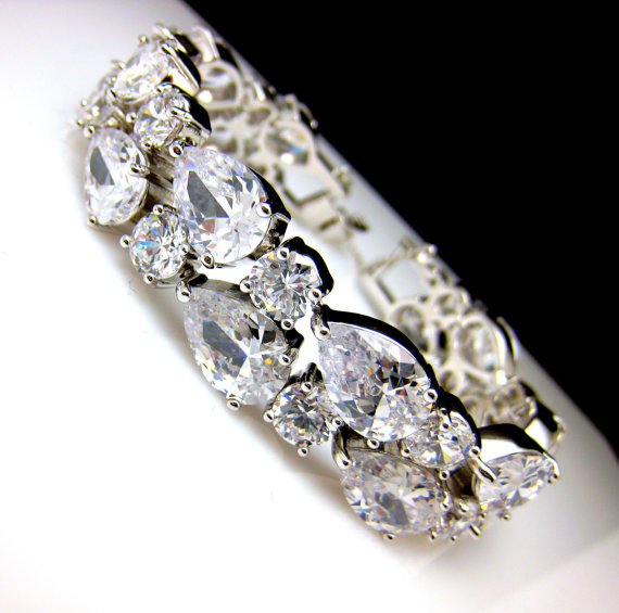 Wedding - bridal jewelry bracelet prom wedding bracelet wedding jewelry pageant bold statement Clear white AAA cubic zirconia multi shape cuff