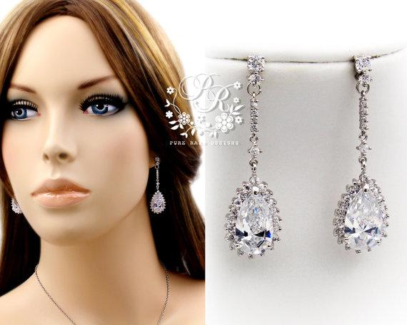 Mariage - Wedding Earrings Platinum plated Zirconia Earrings Wedding Jewelry Bridesmaid Earrings Bridal Earrings Bridal Jewelry Pazu Dela