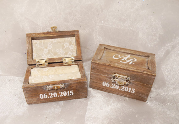 Personalized Initials And Date Wedding Ring Bearer Ring Box Shabby