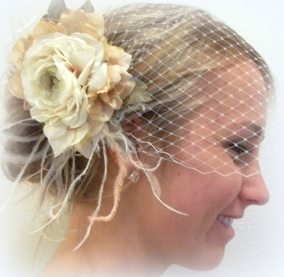 Hochzeit - Wedding, Bridal French Net Bridal Veil with ivory Vintage FLowers,Wedding Hair Clip, Boho, Rustic