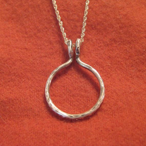 Ring holder necklace silver wedding engagement pendant circle charm ring holder necklace silver wedding engagement pendant circle charm jjdljewelryart aloadofball Images
