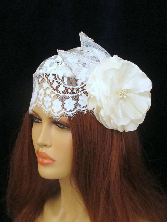Mariage - Juliet Cap Veil Bridal Vintage Inspired Scallopped Edge Lace Wedding Accessories  Headpiece