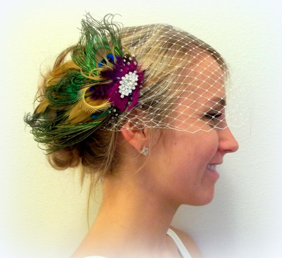 Mariage - Bridal Veil with Olive Green Brown Bridal Fascinator, Wedding Hair Clip, Peaock Feathers, clip or pin